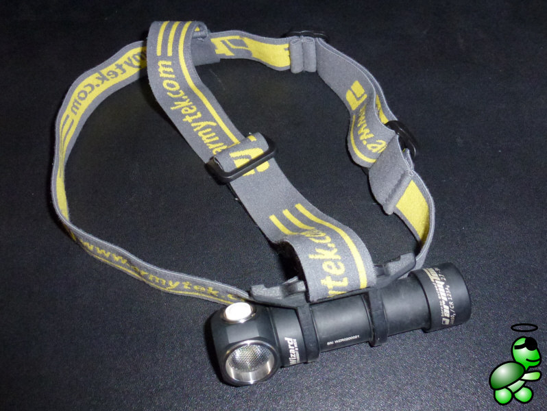 The Armytek Wizard with the headband mounted